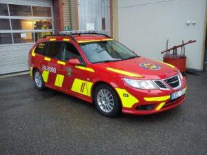 Foto på en av VSRs personbilar som används av bland andra brandingenjörer när de är ute på tillsyn och liknande.