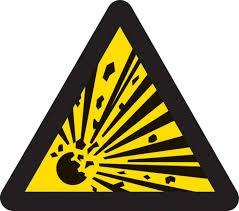Varningsbild som symboliserar explosiva varor