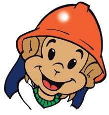 Tecknad bild av maskoten apan Flammy. Klickbar länk till externwebbplats, öppnas i ny flik.