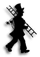 Tecknad helt svart bild av en sotare som har hög hatt och bär på en stege och sotningsutrustning.