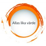 Orange målad cirkel med meningen Allas lika värde i, ett av VSRs värdeord.